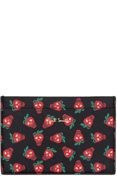 Paul Smith - Black Strawberry Skull Card Holder