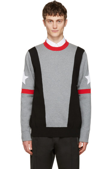Givenchy - Grey Stars & Bands Pullover