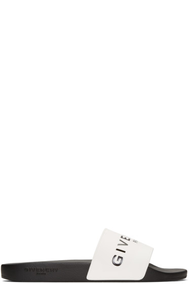 Givenchy - White Logo Slide Sandals