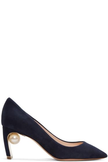 Nicholas Kirkwood - Navy Suede Maeva Pearl Heels