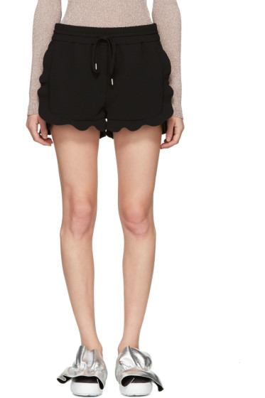 Carven - Black Drawstring Ruffle Shorts