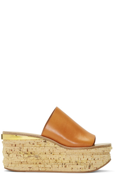 Chloé - Brown Camille Wedge Mules