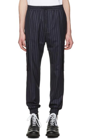 Juun.J - Navy Pinstripe Cargo Trousers