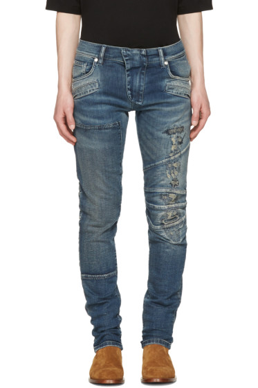 Pierre Balmain - Blue Distressed Panelled Jeans