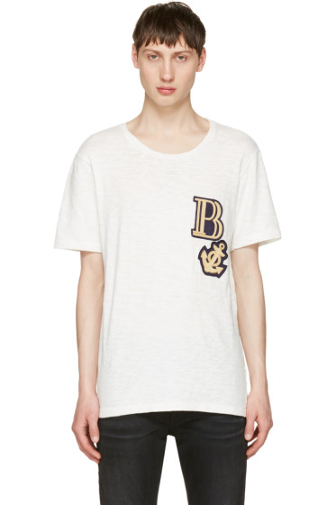 Pierre Balmain - Off-White Embroidered Logo T-Shirt