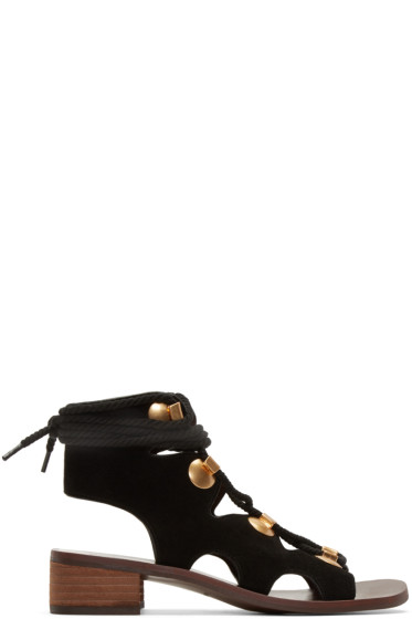 See by Chloé - Black Suede Lace-Up Sandals