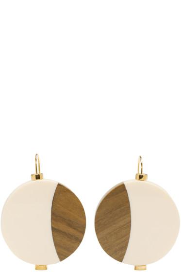 Marni - Ivory Wood Drop Earrings