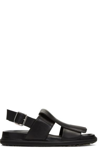 Marni - Black Leather Fringe Sandals