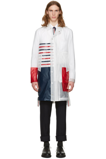 Thom Browne - Transparent Stripe Rain Coat