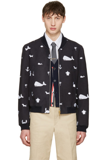 Thom Browne - Navy Funmix Icon Varsity Jacket