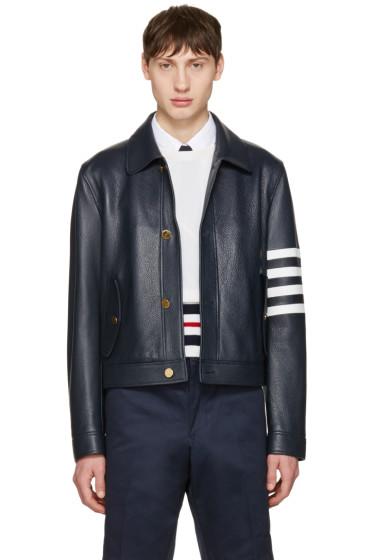 Thom Browne - Navy Leather Harrington Jacket