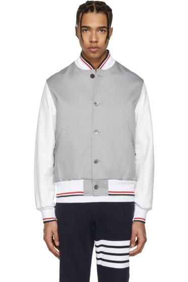 Thom Browne - Grey Cotton & Leather Varsity Jacket