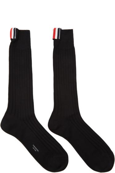 Thom Browne - Black Ribbed Socks
