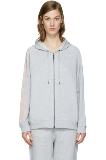 Kenzo - Grey Logo Sleeve Zip Hoodie