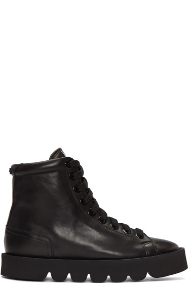Kenzo - Black Leather High-Top Sneakers
