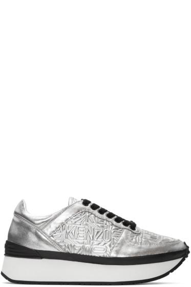 Kenzo - Silver Metallic Platform Sneakers