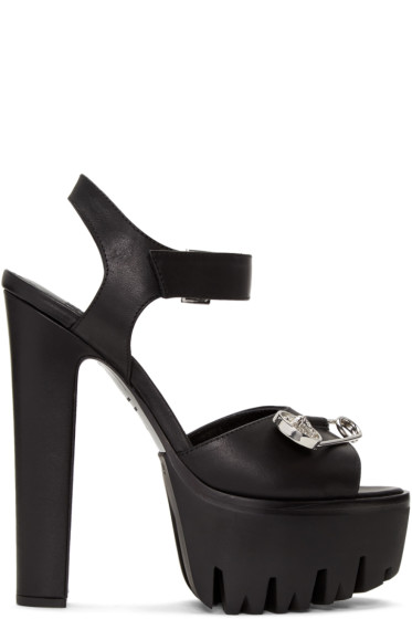 Versus - Black Safety Pin Platform Sandals