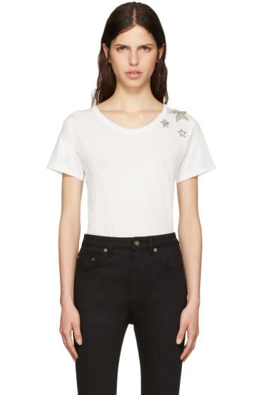 Saint Laurent - White Embroidered Stars T-Shirt