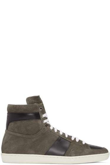 Saint Laurent - Tan Suede SL/10H Court Classic High-Top Sneakers