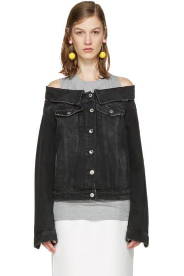 MSGM - Black Off-The-Shoulder Denim Jacket