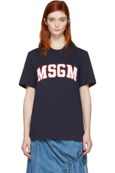 MSGM - Navy College Logo T-Shirt