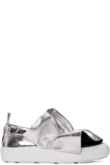 MSGM - Silver Ruched Slip-On Sneakers
