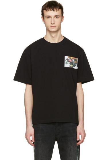 MSGM - Black Floral Patch T-Shirt