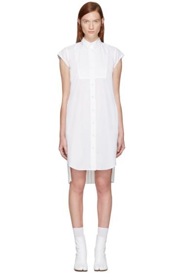 Sacai - White Classic Shirting Pleated Dress