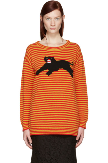 Gucci - Yellow & Red Striped Puma Sweater