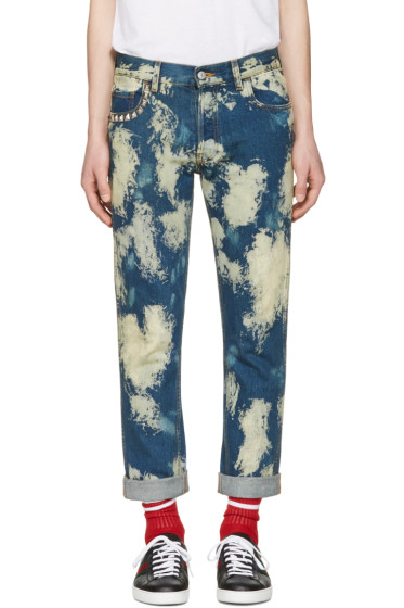 Gucci - Blue Bleached Denim Punk Jeans