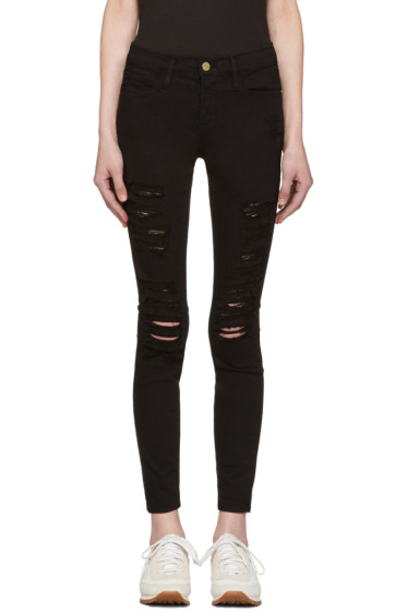 Frame Denim - Black Le Color Ripped Jeans