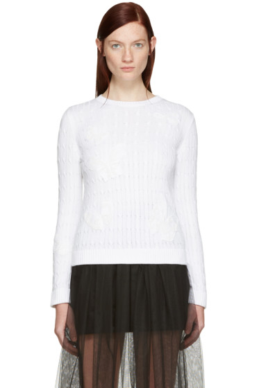 Valentino - White Embroidered Butterfly Pullover
