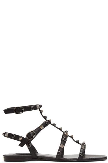 Valentino - Black Rockstud & Stone Gladiator Sandals