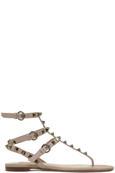Valentino - Pink Rockstud Thong Sandals