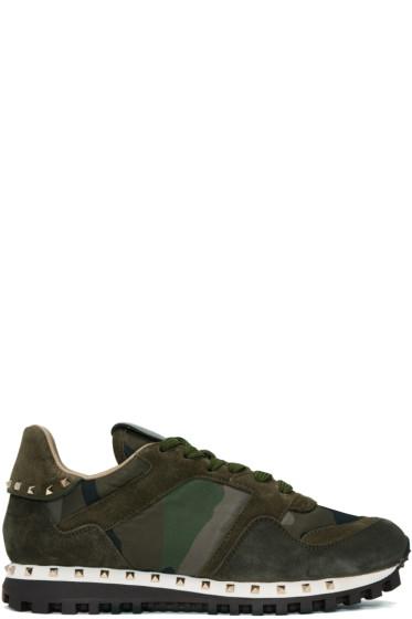 Valentino - Green Camo Rockstud Sneakers