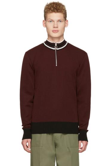 AMI Alexandre Mattiussi - Burgundy Half-Zipped Sweater