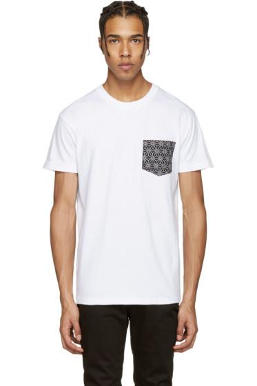 Naked & Famous Denim - White Geometric Pocket T-Shirt