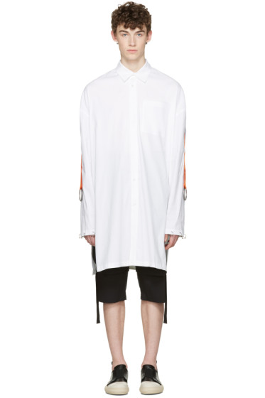 D.Gnak by Kang.D - White Oversized Straps & Rings Shirt