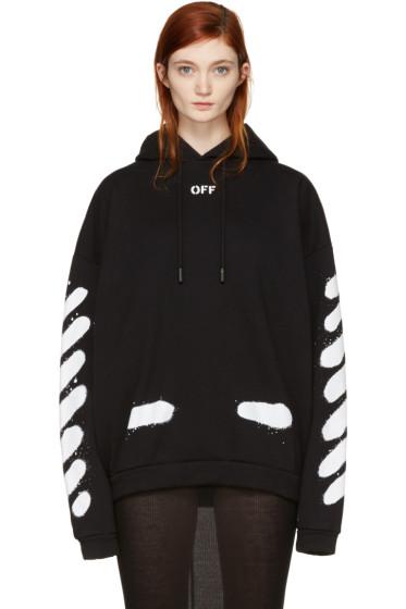 Off-White - SSENSE Exclusive Black Diagonal Spray Hoodie