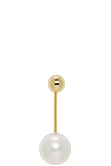 Sophie Bille Brahe - Gold Pearl Elipse Simple Earring