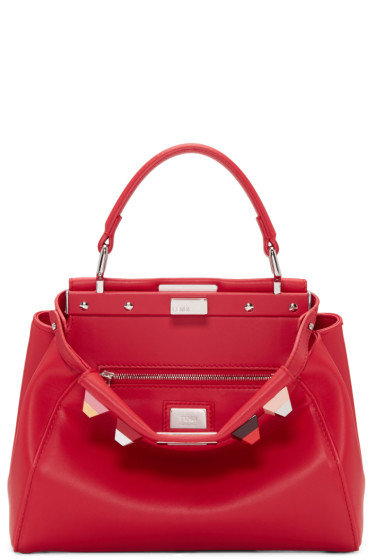 Fendi - Red Studded Mini Peekaboo Bag