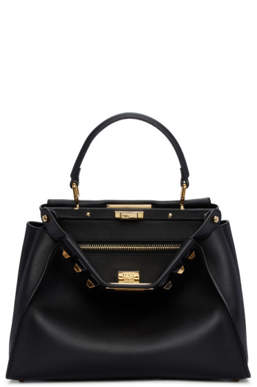 Fendi - Black Regular Studded Peekaboo Bag