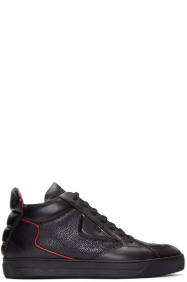 Fendi - Black 'Bag Bug' Mid-Top Sneakers