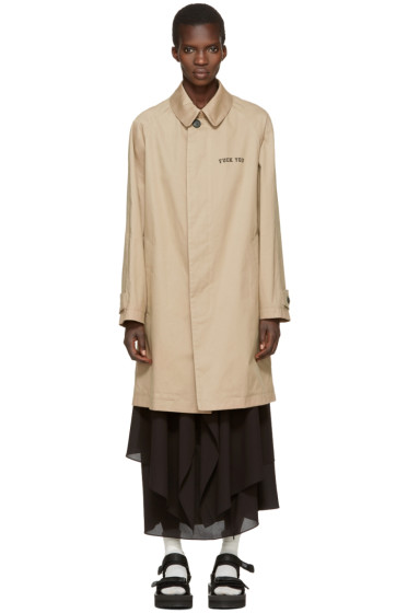 Palm Angels - Beige 'If You Are Recovering' Coat
