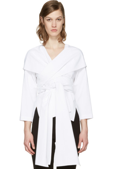 Rosetta Getty - White Wrap Panel Blouse
