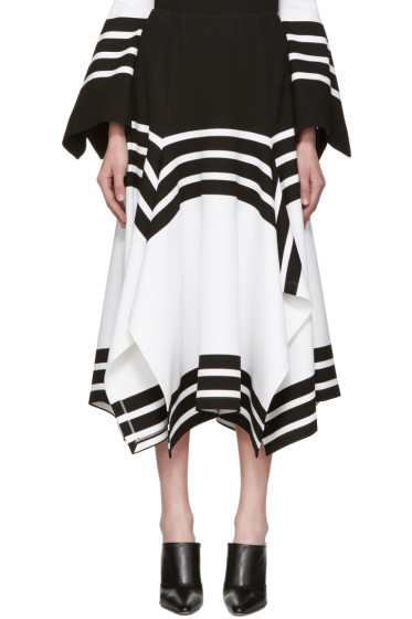 Rosetta Getty - Black & White Scarf Hem Skirt
