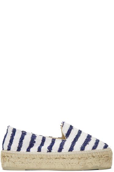 Manebí - White Striped Paris Espadrilles