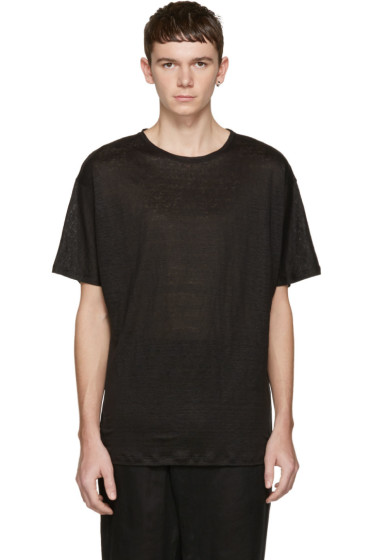 Isabel Benenato - Black Linen T-Shirt
