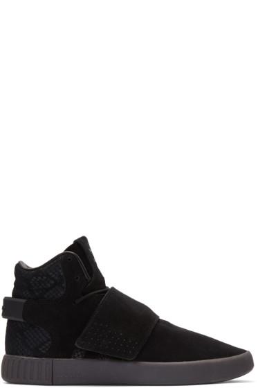 adidas Originals - Black Tubular Invader Strap Sneakers
