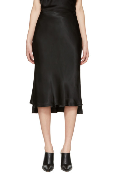 Protagonist - Black Bias Cut Slip Skirt
